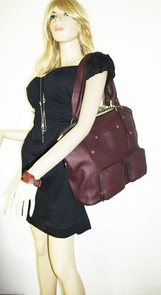 Aubergine leather tote bag leather handbag // by ChicLeather