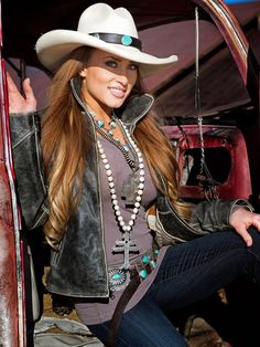 ~ Felt panama hat, [distressed] leather jacket, western boots, concho belt and jeans.  All complemented by fab turquoise jewelry for that OOAK western look. Here's to celebrating life in the great outdoors! ~