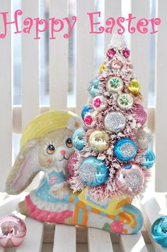 Bunny Bottle Brush Tree Easter Pink & Aqua vintage glass ornaments chic parade mica flocking glitter shabby bottlebrush