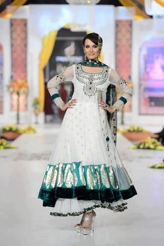 Pakistani anarkali dress white