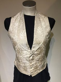 Victorian Vintage Antique Men's Brocade Cream Waistcoat Size 34 36 | eBay