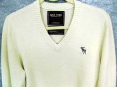 "Abercrombie Fitch Cashmere Sweater L Lrg Cream V-neck Ezra Fitch Mens 41"" Chest #AbercrombieFitch #VNeck"