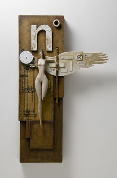 Nth degree By John Morris Timber, watch parts, leather, metal, paint 33cm x 20cm $1200 Sold Lethbridge Gallery