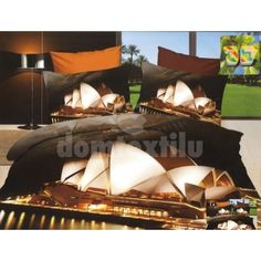 Tmavohnedé bavlnené posteľné obliečky s motívom nočného mesta - domtextilu. Outdoor Furniture, Outdoor Decor, Home Remodeling, Amsterdam, Opera House, Sydney, Building, Blankets, Home Decor