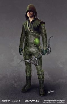 """Concept art of Green Arrow with suit upgrades & boxing glove from """"Arrow"""" (2015) by Andy Poon."""
