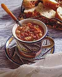 Hearty Pasta and Chickpea Chowder