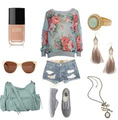 Summer or Spring outfit and Accessories Cute Outfits For School, Cute Summer Outfits, Outfits For Teens, Spring Outfits, Summer Clothes, Fair Outfits, Outfit Summer, Pretty Outfits, Cute Fashion