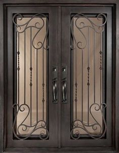 62x82 Affinity Iron Double Door. Beautiful wrought iron front entry door with grille from Door Clearance Center.