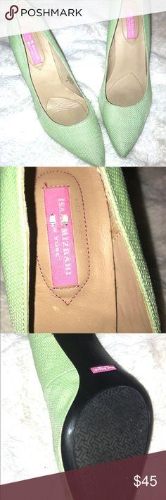 82aeb2db058 Isaac Mizrahi Isleeza Green High Heel Size 9 Isaac Mizrahi Isleeza Green  Waffle Silk High Heel