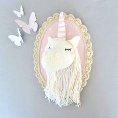 Cadre Crochet, Crochet Décorations, Crochet Tricot, Trophée Licorne, Licorne Beige, Licorne Viendra, Chambre Rose, Chambre Enfant, Déco Chambre