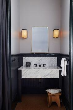 modern retro powder room with white and gray marble sink and black accents - Master Bathroom Bad Inspiration, Decoration Inspiration, Bathroom Inspiration, Decor Ideas, Beautiful Bathrooms, Modern Bathroom, Small Bathroom, Minimal Bathroom, Bathroom Tubs