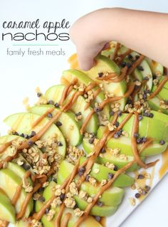 Caramel Apple Nachos - great for fall apple picking! Super Halloween appetizer or snack! FamilyFreshMeals.com