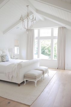 New 2017 Interior Design Tips & Ideas - All White Bedroom. All White Bedroom Paint Color. All White Bedroom Painted in Benjamin Moore Simply - Vaulted Ceiling Bedroom, Ceiling Chandelier, Vaulted Ceilings, Cathedral Ceiling Bedroom, Bedroom Chandeliers, Shiplap Ceiling, Bedroom Lighting, Vaulted Ceiling With Beams, White Bedrooms