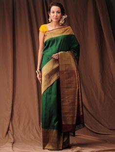 Green-Burgundy Zari Kanjivaram Silk Saree