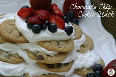 Soft Chocolate Chip Cookies stacked with a special Cool Whip frosting and fresh berries :: Recipe on HoosierHomemade.com