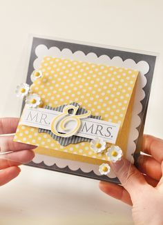 Stampin' Up! gray & yellow congrats card for newlyweds.