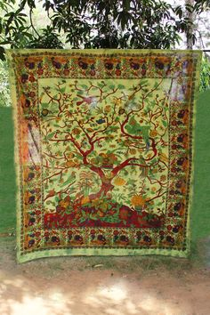 Jungle Scenery Green Tapestry
