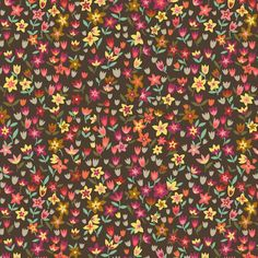 Tissu designer anglais - Dashwood Studio design Brie Harrison - Mini-tulipes fond chocolat