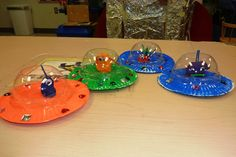 We made flying saucers with space aliens by painting paper plates, glueing them together, and adding gems as lights. The children crafted their own aliens with playdough, wikki stix, and google eyes. Domed drink covers went on top. We hung them from the ceiling. Everyone loved them!                                                                                                                                                     More