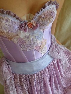 Flora Rococo Bustier Wedding Gown or Formal Dress... size XS or Small... Marie Antoinette Shabby Chic Alternative Pastel Whimsical Fairy by Jada Dreaming on Etsy $300
