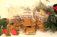 Handmade using double cream, fresh butter, sugar and coffee and walnuts. All pure and natural ingredients. Firm, creamy and silky textured with a nice crisp bite to the shell. Contains nuts. Cream And Fudge, Melting In The Mouth, Fresh Cream, Pure Products, Chocolate, Coffee, Christmas, Kaffee, Xmas