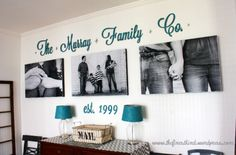 Staples prints, and wood letters... perfect idea for my long wall! Love the color w blk and whit photos