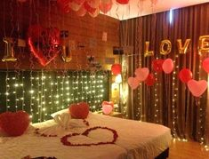 Best Romantic Room Decoration ideas for an unforgettable evening. Surprise your partner with our exciting romantic room decor & set up just for you two. Balloon Decoration In Room, Wedding Night Room Decorations, Romantic Room Decoration, Birthday Room Decorations, Romantic Bedroom Decor, Decoration Bedroom, Decor Room, Romantic Hotel Rooms, Wedding Bedroom