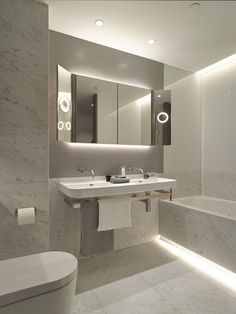 Cool White LED Strip Lights look fantastic in this modern bathroom! You can get them here!- http://www.led-light-strip.co.uk/shop/white-led-tape-88.html