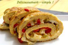 Omelette roulée aux 2 poivrons et mozzarella
