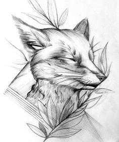 Line art design tattoo 40 ideas Fox Tattoo Design, Sketch Tattoo Design, Tattoo Sketches, Tattoo Drawings, Art Sketches, Art Drawings, Tattoo Designs, Line Art Design, Zorro Tattoo