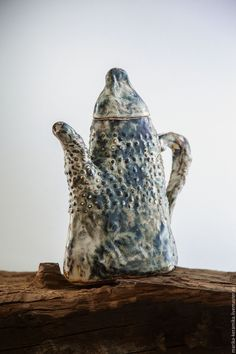 Ceramic tea pot by Marika Akilova | Купить Чайник-кувшин Исландия - Керамика, фактура, посуда, чай, тёмно-бирюзовый, эффекты, исландия