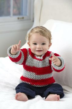 New Free Crochet Pattern: Go Team Go! Baby Sweater | WIPs 'N Chains Kim Guzman pattern on Red Heart yarns site