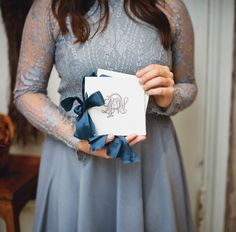 monogram ceremony programs with satin ribbons | A Bryan Photo #wedding