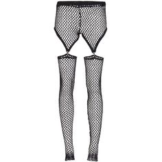 BOHEMIAN SOCIETY mesh garter tights ($475) ❤ liked on Polyvore featuring intimates, hosiery, tights, leggings, pants, bottoms, socks, bohemian society, black pantyhose and black tights