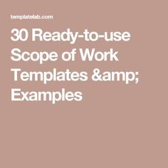 30 Ready-to-use Scope of Work Templates & Examples