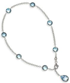 Blue Topaz Ankle Bracelet in 14k White Gold only $498.00 - Blue Topaz Jewelry
