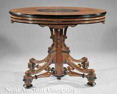 0767: Burled Walnut, Ebonized, Marquetry Center Table : Lot 767
