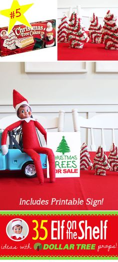 35 ALL NEW Elf on the Shelf ideas for this year!! These fun, creative & EASY ideas all include an item from the Dollar Tree! #Christmas #ElfOnTheShelf #Ideas #Easy #Funny #Toddler #DIY #DollarStore #Printable