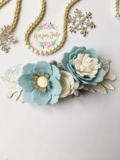 Our popular Harper Crown, in gorgeous frozen icy blues and whites. I think theres a certain popular princess that lots of girlies out there still love, and I feel this would be a perfect accessory for that pretty princess dress rather than those plastic tiaras! Felt flower crown,