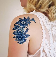 Tattoorary Delft Blue Floral Temporary Tattoos