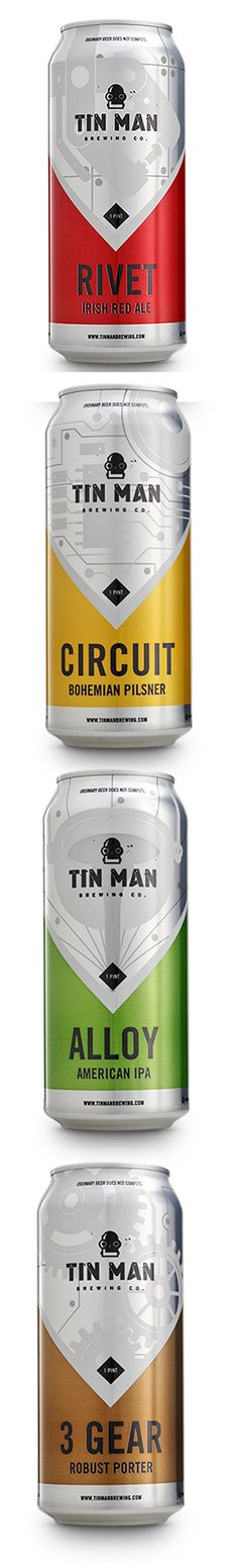Man Brewing Company's beer metal tin with beautiful shrink sleeve label designs. Tin Man Brewing Company's beer metal tin with beautiful shrink sleeve label designs. Beverage Packaging, Bottle Packaging, Brand Packaging, Design Packaging, Impression Etiquette, Brewery Logos, Beer Label Design, Beer Art, Beer Brands
