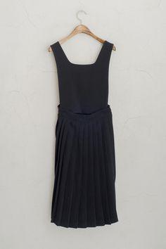 Pleated Skirt Detail Overall Dress, Black