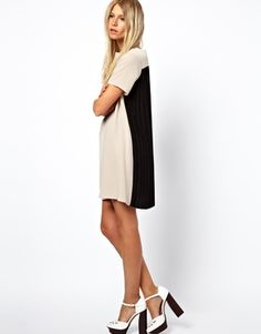ASOS Pleat Back Dress With Contrast