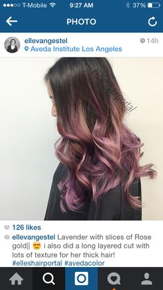 Rose gold and lavender highlights