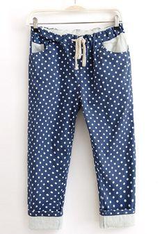 / Blue Polka Dot Drawstring Waist Seven's Cotton Pants