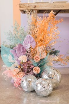 Disco Party, Disco Ball, Wedding Colors, Wedding Flowers, Flower Installation, Event Styling, Event Decor, Event Design, Dried Flowers
