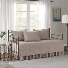 Comfort Spaces - Kienna Daybed Set - Stitched Quilt Pattern - 5 Pieces - Grey - Includes 1 Bed Spread, 1 Bed Skirt and 3 Pillow Cases Daybed Cover Sets, Daybed Sets, Daybed Bedding, Daybed With Trundle, Futon Mattress, Teen Bedding, Bedding Sets, Comforter, Full Size Daybed