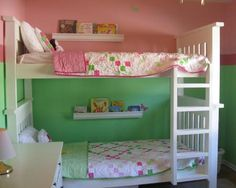 White Bunk beds with ladder instructions | Do It Yourself Home Projects from Ana White-going to need this eventually for the girls' room since they'll be sharing before we know it!