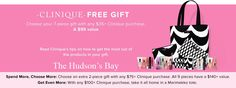Free Clinique gift at The Bay in Canada