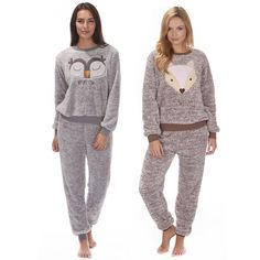 Ladies Forever Dreaming Fleece Owl Fox Animal Pyjama Set Top & Trousers in Clothes, Shoes & Accessories, Women's Clothing, Lingerie & Nightwear | eBay